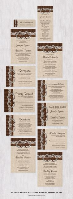 An elegant rustic country western horseshoe wedding invitation set. Featuring two horseshoes on a burlap and lace design with twine and brown barn wood. Click on the image to view all coordinated products!