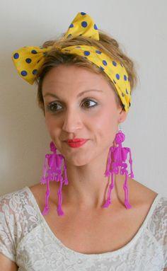 FUN HALLOWEEN SKELETON Earrings...dangly. novelty. by retroandme, $5.00
