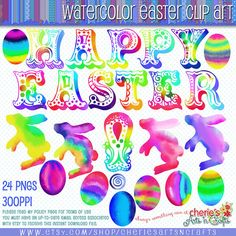 Watercolor Easter Clip Art Watercolor Alpha by CheriesArtsnCrafts