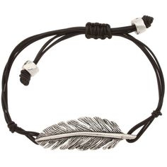 Fossil - Dream Weaver Leather Feather Bracelet (Vintage Silver) -... (34 AUD) ❤ liked on Polyvore featuring jewelry, bracelets, accessories, pulseiras, fillers, women's jewelry, leather bangle, vintage silver bangles, feather jewelry and silver jewelry