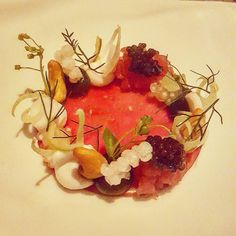 Bigeye Tuna with Osetra Caviar Coconut Cashews and Miner's Lettuce @grace_chicago #Excellent #Raw #Tuna #Caviar #Seafood #Fauna #TastingMenu #Food #Foodie #Instafood #FoodPorn #Grace #Chicago #CurtisDuffy #DesiredTastes #ChicagoTrip2016