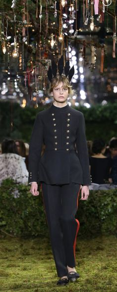 """Christian Dior Official pictures, S/S 2017 - Couture - """"Polytechnique de Dior"""" - Black double-faced cashmere trouser suit, jacket inspired by the uniform of the École Polytechnique, after a Monsieur Dior original. Fontange of felt feathers. - http://www.orientpalms.com/Christian-Dior-6609"""