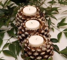 17 Easy DIY Holiday Candle Holders – 37 super easy diy christmas crafts ideas for best and easy rangoli designs for diwali festival part coconut candle holders Pine Cone Art, Pine Cone Crafts, Fall Crafts, Holiday Crafts, Diy Crafts, Holiday Fun, Paper Crafts, Christmas Candle Holders, Holiday Candles