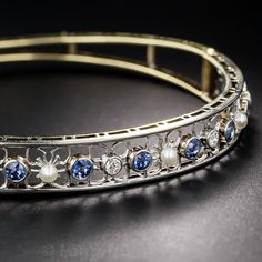 Antique Sapphire, Diamond and Natural Pearl Bangle Bracelet