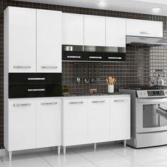 Cozinha Tridimensional Famme com Balcão com Tampo Pulse 11 Portas e 2 Gavetas Branco/Preto - Casabras | Lojas KD