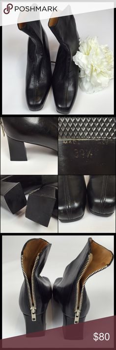 HOBBS MARILYN ANSELM LEATHER  BOOTS SIZE 9 1/2 STYLISH AND SEXY  SIZE 39 1/2, MADE IN ITALY! US SIZING IS 9 1/2  HOBBS MARILYN ANSELM BLACK LEATHER HIGH HEEL BOOTS ARE IN GOOD CONDITION!    THE LEATHER HAS CREASES AND SMALL SCRATCH MARKS ON THE TOE BOX OF THE RIGHT BOOT AND ALL OVER BOOT. IT HAS THE DISTRESSED LOOK.  HEEL HEIGHT: 2 1/8 HEEL  ZIPPER BACKING, SOLES, HEELS ARE IN VERY GOOD CONDITION!  INSIDE OF RIGHT BOOT HAS NUMBERS WRITTEN IN PEN. PLEASE LOOK AT PHOTOS!  SMOKE-FREE-HOME  NO…