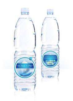 "Mineral water ""Belye Gory"" (Белые Горы) by .negidgo, via Behance Water Packaging, Water Branding, Bottle Packaging, Bottle Mockup, Custom Water Bottles, Water Bottle Labels, Pet Bottle, Mineral Water Brands, Water Shape"