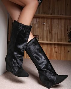 cf91788263e47 Fashion Winter Warm Patchwork Horse Hair Suede Knee Boots Point Toe Slip On  Hidden Wedge Women Boots Botas Mujer Long Boots
