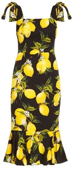 DOLCE & GABBANA Lemon-print fluted-hem straps dress