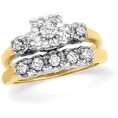 14k Two Tone Gold 1950's Vintage Style .20cttw Illusion Set Diamond Engagement Ring & Band