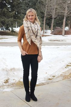 Zara blanket scarf, camel sweater, black over the knee boots, winter outfit idea, fashion blog, Treats and Trends, winter fahsion
