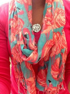 Love these colors and the gold monogrammed necklace!!
