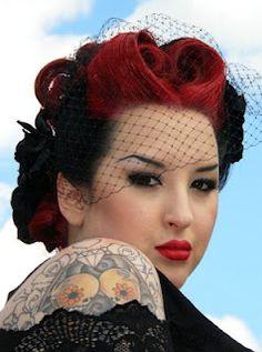 Pin it up babe #pin-up #hair #red #black #vintage