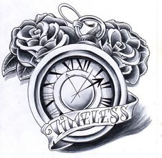 pocket watch with roses and banner by jamieleeann.b