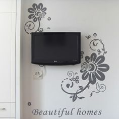 Wall stickers wall stickers tv wall flower vine fresh aesthetic shb205 $66.72