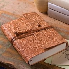 beautiful embossed leather journal i would have loved it even more if it was a richer color