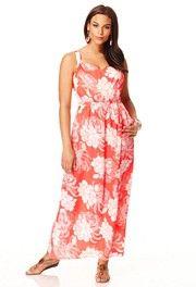 Coral color maxi dress