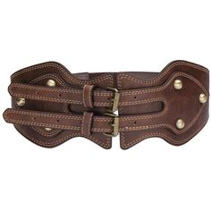 Yoins Wide Waist Belt ($12) ❤ liked on Polyvore featuring accessories, belts, brown, wide brown belt, wide belt, studded belt, waist belt and wide buckle belt