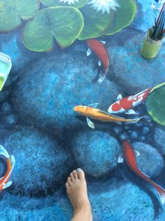 Trompe l'oeil koi fish pond on my lanai. Artwork and design by Louise Moorman. Diy Concrete Patio, Diy Patio, Patio Ideas, Concrete Walls, Floor Murals, Floor Art, Painting Concrete, Stained Concrete, Koi Fish Pond
