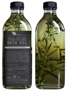 Ooh, stylish inspiration for making DIY herbal bath oil (and reusing all those olive oil bottles).