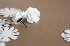 Ideal Life// Large white resin rose earrings on bronze studs -- Fairy Tale Inspired Accessories via Etsy