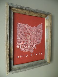 Ohio State Word Map by fortheloveofmaps on Etsy