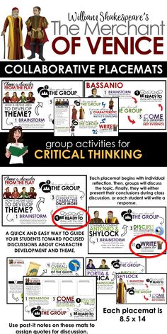 Activities for Merchant of Venice: Use these handy placemats to get your students focused and on task as they discuss important elements of the play.