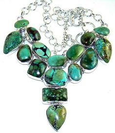 Stunning Necklace with Green Turquoise Gemstone, 925 Sterling Silver Jewelry Setting with Natural Gemstone.