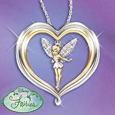 Gift Idea: Tinker Bell Believe Pendant Necklace: Disney Jewelry Disney Necklace, Disney Jewelry, Tinker Bell, Disney Engagement Rings, Disney Princess Tattoo, Punk Princess, Disneyland Pins, Alternative Disney, Believe