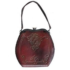 Vintage 1930s Art Deco Floral Tooled Leather Purse ❤ liked on Polyvore featuring bags, handbags, vintage purse, genuine leather handbags, floral leather handbag, leather purse and hand bags