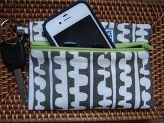 Keychain Wallet in Grey and White Lotta by stitch248 on Etsy, $12.00