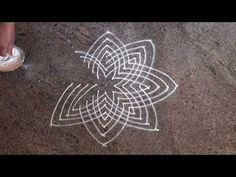 Laksmihrudaya Rangoli - Hridaya Kamalam is a famous Rangoli design which symbolizes Goddess Lakshmi. Hence these designs are also known as Lakshmi Hrudaya an. Simple Rangoli Designs Images, Rangoli Designs Diwali, Rangoli Designs With Dots, Rangoli With Dots, Kolam Designs, Kolam Rangoli, Padi Kolam, Easy Rangoli, Free Hand Rangoli Design