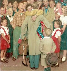 I'll be Home for Christmas! » Norman Rockwell. A Christmas Homecoming. 1948
