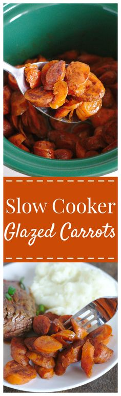 Slow Cooker Glazed Carrots – An easy side dish perfect for a Thanksgiving or Christmas feast! Carrots slow cooked in a delicious brown sugar cinnamon glaze! #carrot #slowcooker #crockpot #thanksgiving #side