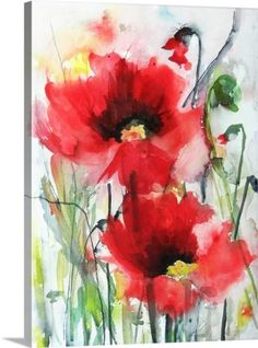 Karin Johannesson Premium Thick-Wrap Canvas Wall Art Print entitled Red Poppies, None