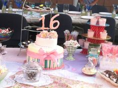Shabby Chic Sweet 16 birthday cake