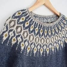 Inspired by traditional Icelandic circular yoke sweaters, Telja is knit in the round from the bottom Fair Isle Knitting Patterns, Sweater Knitting Patterns, Knitting Designs, Knit Patterns, Free Knitting, Nordic Pullover, Nordic Sweater, Tejido Fair Isle, Norwegian Knitting