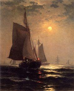Edward Moran (1829-1901) - Moonlight in New  York  Harbor
