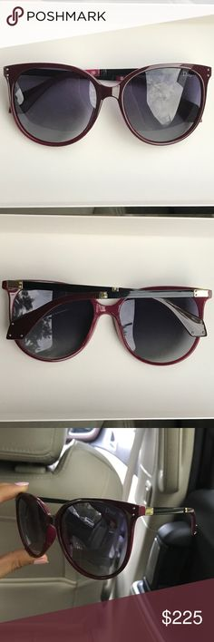 Cat Eye Dior Sunglasses in Deep Burgundy Chic Dark Burgundy Subtle Cat Eye Christian Dior Sunglasses with gold detail Dior Accessories Sunglasses