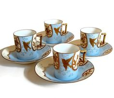 "Limoges ""Little Bird"" Demitasse Set for 4 Art Nouveau Antique Dining Entertaining Home Decor Edwardian Blanchard Frerés Wedding Gift  c1890s"