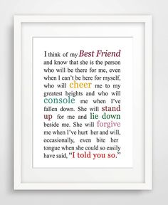 I Think of My Best Friend - Matted Art Print