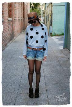 DIY Clothes Women Refashion :  DIY polka dot sweater