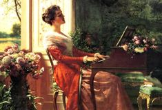 'Przy klawikordzie - Pieśń miłosna' ('At the Clavichord - Love Song') (1902) by Władysław Czachórski (1850-1911). Oil on canvas. 37.5 x 50.2 cm (14.76 x 19.76 in). Signed. Private collection. Last recorded appearance: Agra Art auction, June 2003, Warsaw, Poland. Details (incl. hammer price): http://tinyurl.com/6rvcps9 // Bio notes on this artist: http://tinyurl.com/7mb5ec3 // Found by @RandomMagicTour     (http://tinyurl.com/7c3hqej) - Sasha Soren