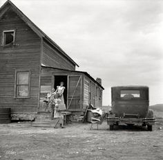 "Long Journey Begins:July 1936. ""Drought area of North Dakota. Family leaving drought-stricken farm for Oregon or Washington."" Photo by Arthur Rothstein.  One thing is for sure, they weren't headed for Disney World."