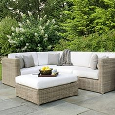 Sag harbor deep seating sectional, available with different colored cushions.#patio #comfy #outdoorliving #homedecor
