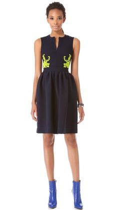 navy with a touch of neon / Preen Audra Sleeveless Dress