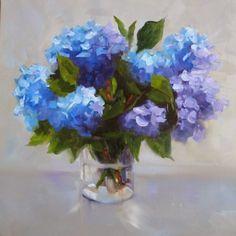 Hydrangeas Squared, painting by artist Pat Fiorello