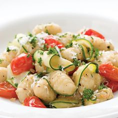 For this recipe, convenient store-bought potato gnocchi are tossed with delicate ribbons of zucchini, shallots and cherry tomatoes that have all been saut�ed in nutty browned butter.