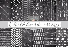 Chalkboard arrows digital papers by burlapandlace on Creative Market