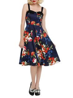 Navy Floral Dress | Hot Topic